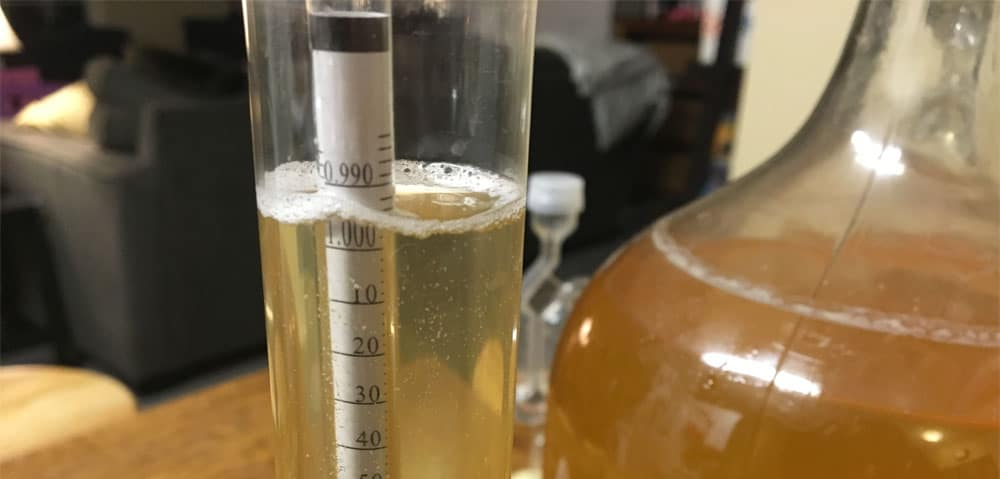 hydrometer reading on root beer liqueur