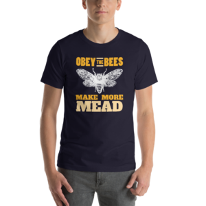 Navy Obey the Bees make more mead meadmaking t-shirt